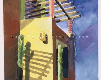 """Colorful Fine Art Print. Watercolor Painting. Wall Decor. Los Cabos, Mexico - """"Late Shadows""""."""