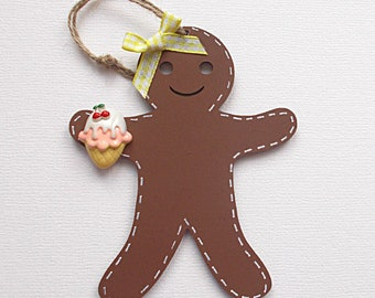 Wooden Gingerbread Girl with Resin Ice Cream