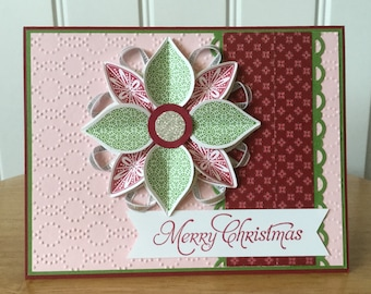 Stampin Up handmade Christmas card - Ornament flower in red and green