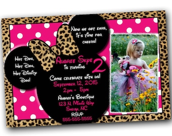 Minnie Mouse Invitations, Minnie Mouse Birthday, Pink Minnie Mouse invitations, Minnie Mouse party, Minnie Mouse Thank you card, Cheetah