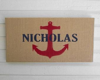 Anchor  - Personalized Name  - 12 x 24 Burlap over Cork Message Board, Pin Board, Memo Board, Bulletin Board - Nautical Wall Decor