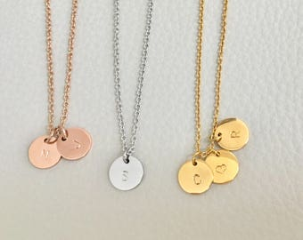 Initial necklace, Initial coin necklace, gold silver rose gold initial,disc initial necklace, circle initial necklace, 3 initial necklace,