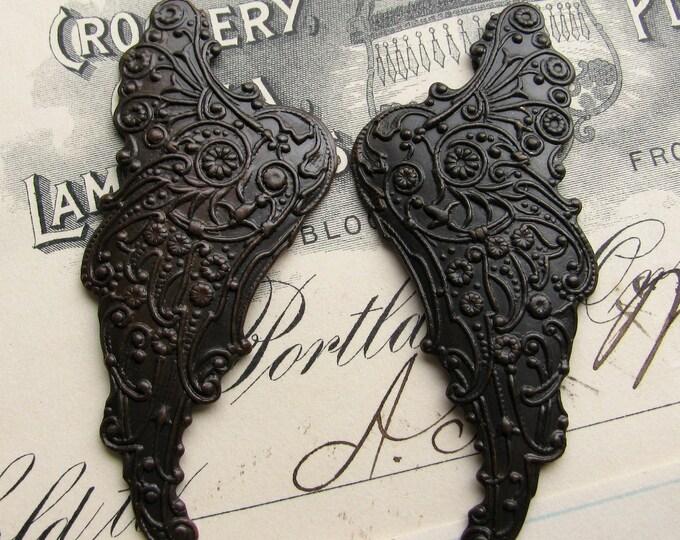 "Fallen Angel Brass Wings ""Archangel""  (2 dark angel wings) black, dark antiqued, art nouveau wings, black angel wings, mythical fantasy"