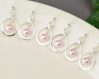 Pearl Bridesmaid Jewelry SET OF 5 Pink Pearl Earrings 10% OFF - Sterling Silver Infinity Earrings - Swarovski Pearl Drop Earrings