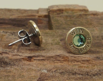 Bullet Earrings - Winchester 9mm - Peridot - Ultra Thin