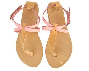 Leather sandals, Greek sandals, Pink sandals, Thong sandals, Greek leather sandals, Summer flats, Womens sandals, Danae