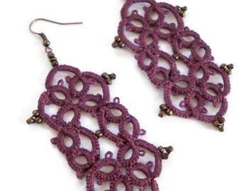 Merlot arabesque tatted earrings//handmade /lace earrings //chandelier earrings//Tatted jewelry//frivolite