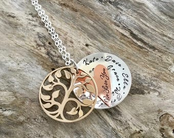 Gifts for Mom | Layered Mixed Metal Name Necklace | Stamped Necklace with Names | Personalized Necklace for Mom | Mothers Necklace