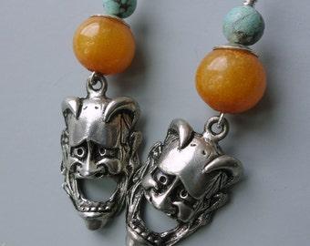 Vintage Hannya Japanese Demon Mask Earrings