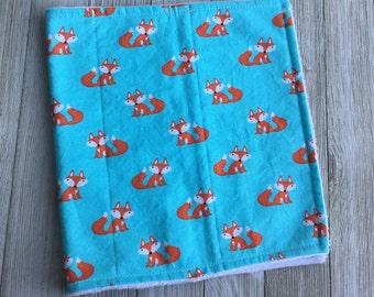 Fox Burp Cloth, Chenille, Boy Burp Cloth, Teal, Boutique Burp Cloth, Blue, Baby Shower Gift, Baby Boy Gift