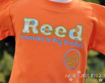 Big Brother Promotion Shirt - Boys Pregnancy Announcement Shirt - Big Brother Shirt - Pregnancy Reveal Shirt - Personalized Shirt