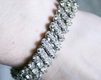 Stretchy Clear Rhinestone Cuff Bracelet