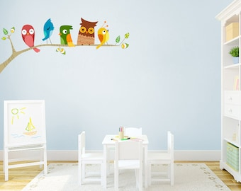 Birds On A Limb - Printed Nursery and Kid's Room Wall Decals