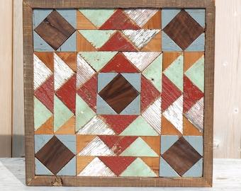 salvaged wood barn quilt block, geometric wall art , rustic decor