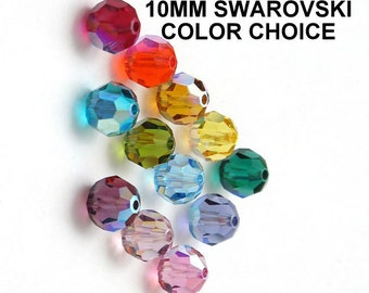 BEADS, SWAROVSKI, Austrian ,10mm, Crystal, Faceted, Round, Color Choice AB, Art. 5000, 24 Pieces