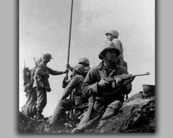 Poster, Many Sizes Available; Iwo Jima First Flag