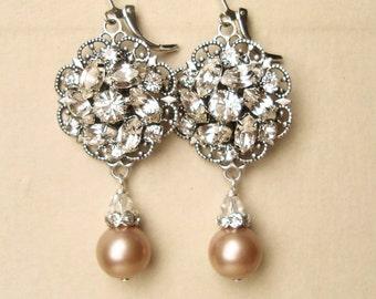 Champagne Pearl Bridal Wedding Earrings, Vintage Inspired Bridal Earrings, Champagne Pearls, Antiqued Silver Filigree Earrings, CELINE