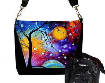 MadArt Dslr Camera Bag in Winter Sparkle Womens Camera Case for Nikon Camera Canon Sony too,  tree moon Messenger Bag blue purple green RTS