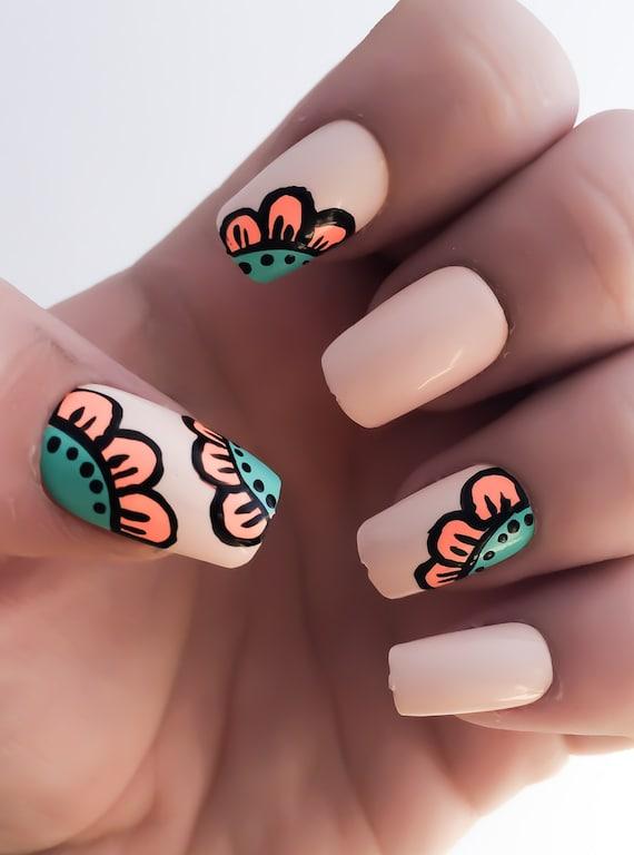Flor uñas postizas esmalte de uñas Nude uñas Coral uñas