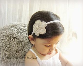 Flower Bridal Rhinestone Applique Hard Headband