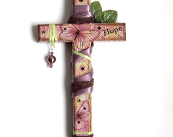 Mixed Media Wall Cross Decoupaged Decorated Crucifix Purple Butterflies Catholic Art Christian Gift  Easter Mothers Day Gift for Mom