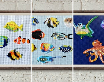 modern cross stitch pattern, 3 Fish cross stitch set, contemporary embroidery, diy hoop art, counted cross stitch, hawaii diy