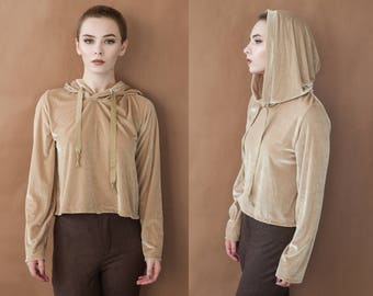 Light Gold Velvet Long Sleeve Relaxed Fit Hoodie S M L XL Ready to Ship