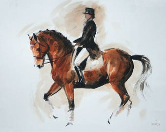 Equine horse art LE dressage print horse gift horse lover gift 'Control' from an original mixed media home decor wall art
