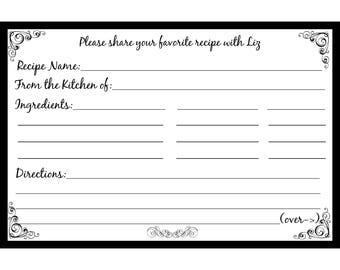 "100 Bridal Shower Recipe Cards   PERSONALIZED  - Classic Black - Script Font  -  4x6"" Size"