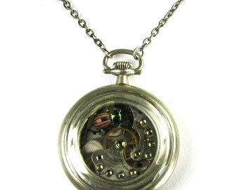 KAFKA CLOCK Steampunk Beetle Necklace with GENUINE Real Insect Peridot Pocket Watch - One of a Kind Work of Art Only from Nouveau Motley