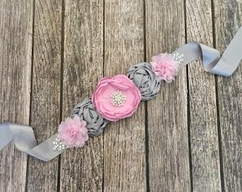 Pink and grey maternity sash, maternity sash, baby shower sash, pink maternity sash, grey maternity sash