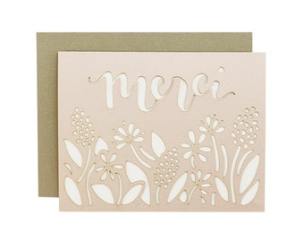 Merci - Floral Laser Cut Card in Blush Pink