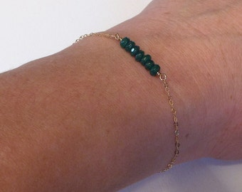 Emerald Green Gold Fill Bracelet- Dainty Thin Gold Bracelet- Gold Fill Jewelry- Friendship Bracelet