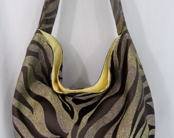 Tiger Print, Extra Large Slouchy BAG, Hobo, Diaper BAG, Work Purse, Fall Winter, Shoulder Purse