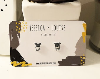 Schnauzer Puppy Studs / Cute Schnauzer Earrings / Allergy Free Acrylic Back Schnauzer Studs / Doggy Studs