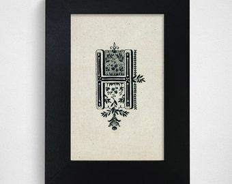 "SALE / Ready-to-Ship / Hand Drawn Original Monogram Letter H / 4x6"""
