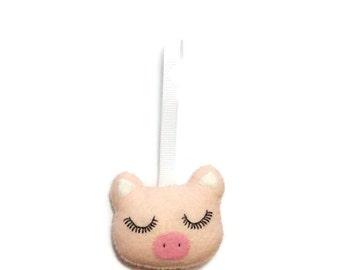 Pig Christmas Ornament - Piggy Ornament - Felt Christmas Ornament - Pig Christmas Decoration - Christmas Tree Ornament