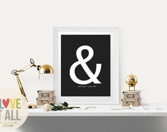 """Personalized Wedding Gift . Wedding Gift for Couple . Modern Ampersand Graphic Typography  Love Print """"&"""" Punctuation 1st Paper Anniversary"""