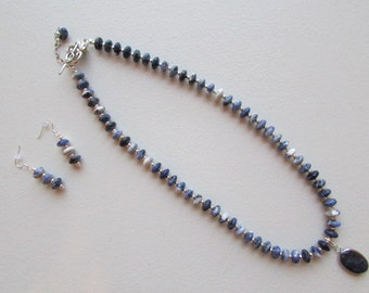 Sodalite Necklace Set with Removable Pendant