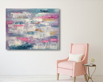 Large abstract painting, pink, blue, gold with a spatula