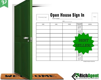 Open House Sign In Sheet | BEST SELLER | Real Estate Forms | Open House | Real Estate Agents | Realtors | Real Estate Marketing