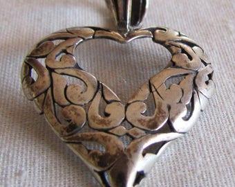 Sterling Silver Openwork Heart Pendant