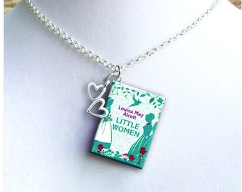 Little Women - With Double Heart Charm - Miniature Book Necklace
