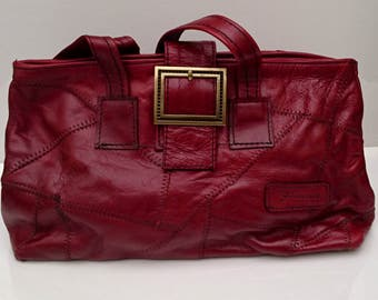Red leather bag , handbag, shoulder bag medium size LEATHER day bag in red, Leather Tote Bag, Leather Diaper Bag, Leather Bag