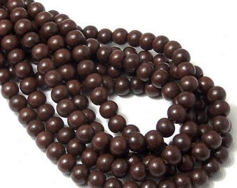 Magkuno Wood Bead, 8mm, Very Dark Brown, Round, Small, Smooth, Natural Wood Beads, 16 Inch Strand - ID 1372-VDK