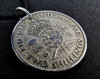 Tudor Rose Necklace.  Shilling necklace . ENGLAND UK. jewelry. 2 Shillings. key chain . NO.00378