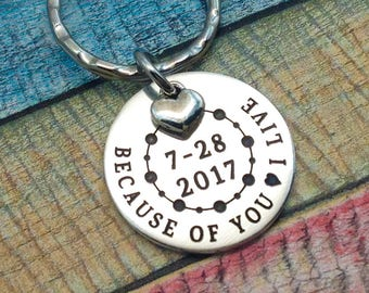 Organ Donor Gift, Living Donor Gift, Cancer awareness key ring, Kidney donor, Liver donor, Bone Marrow donor, Cancer Healing gift, DONOR