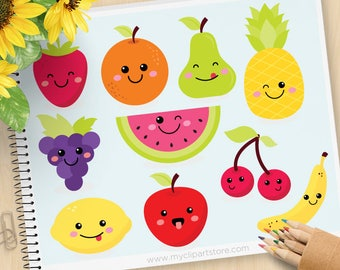 Cute Fruit, Kawaii Clipart, strawberry, watermelon, apple, Pineapple, orange, grapes, Commercial Use, Vector clip art, SVG Files