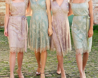 Bespoke Vintage Style Lace Bridesmaids Dresses In Platinum and Powder Lace