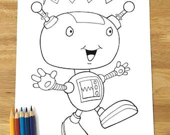 Cute Happy Robot Coloring Page! Downloadable PDF file!